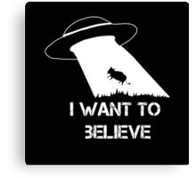 I want to believe - cow abduction Canvas Print