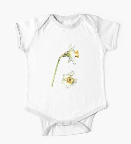 White & Yellow Daffodil One Piece - Short Sleeve