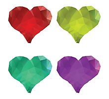 Polygonal Hearts 4 Photographic Print