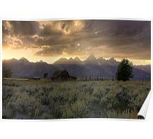Sunset on Moulton Barn Poster