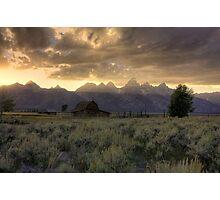Sunset on Moulton Barn Photographic Print