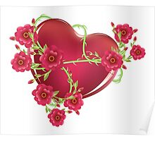 Heart with Roses Poster