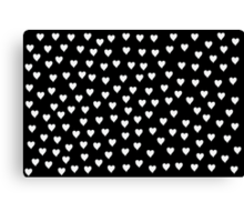 black and white hearts Canvas Print