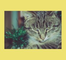 Retro Tabby Cat and Green Tinsel 4 Kids Clothes