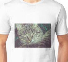 Retro Tabby Cat and Green Tinsel 5 Unisex T-Shirt