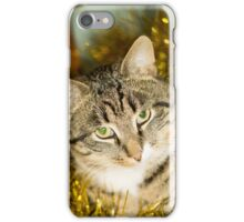 Tabby Cat and Yellow Tinsel iPhone Case/Skin