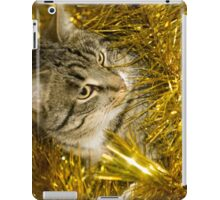 Tabby Cat and Yellow Tinsel 3 iPad Case/Skin