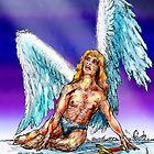 fallen Angel  sketch & Corel Photo paint by Ken Tregoning