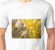 Tabby Cat and Yellow Tinsel 4 Unisex T-Shirt