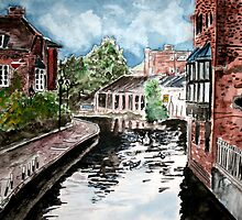 england river canal cityscape painting print by derekmccrea