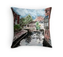 england river canal cityscape painting print Throw Pillow