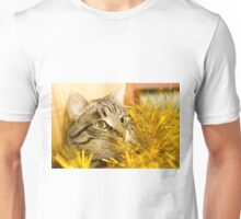 Tabby Cat and Yellow Tinsel 5 Unisex T-Shirt