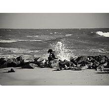Through wind and force the foaming breakers roar....What of the man who waits upon the shore? Photographic Print