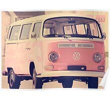 Pink VW camper van Poster