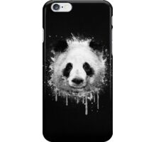 Cool Abstract Graffiti Watercolor Panda Portrait in Black & White  iPhone Case/Skin