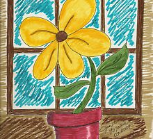 Folk Art Flower in the Window by janetmarston