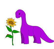 Sauropod and Sunflower by luvandmonsters