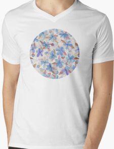 Purple Painted Floral Pattern Mens V-Neck T-Shirt