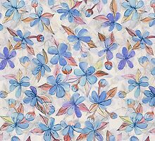 Purple Painted Floral Pattern by micklyn