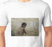 A child crouching in the river at Grutas Tolantongo Unisex T-Shirt