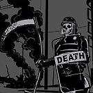 A riot policeman called death by krayola