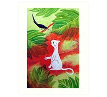 White Cat Black Bird Art Print