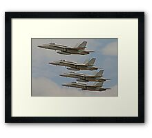 4 F/A-18 Hornets perform Fly by Framed Print