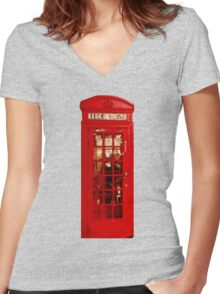 London telephone box Women's Fitted V-Neck T-Shirt