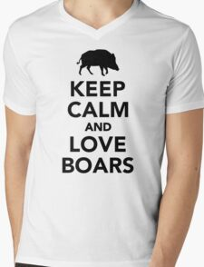 Keep calm and love wild boars Mens V-Neck T-Shirt