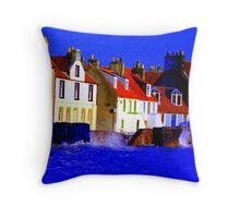 PITTENWEEM WITH A UNFORGIVING SEA !! Throw Pillow