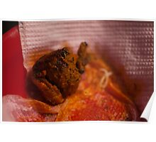 A piece of Chicken Tikka in a plastic plate Poster