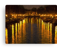 Amsterdam Canal - Oil Painting Effect Canvas Print