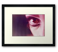 Surrealist eye of young lady with makeup analog photograph Framed Print