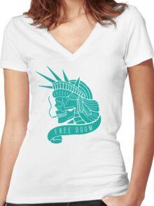 Free Doom Women's Fitted V-Neck T-Shirt