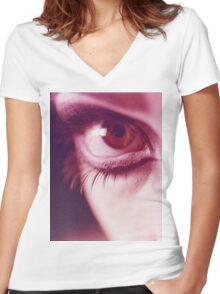 Surrealist eye of young lady with makeup analog photograph Women's Fitted V-Neck T-Shirt