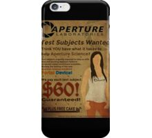 Aperture Science - Test Subjects Wanted! iPhone Case/Skin