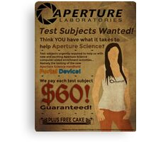 Aperture Science - Test Subjects Wanted! Canvas Print