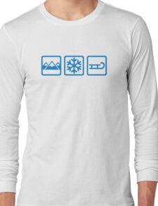 Mountains snow sleigh Long Sleeve T-Shirt