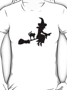 Witch broom cat T-Shirt