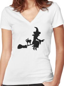 Witch broom cat Women's Fitted V-Neck T-Shirt