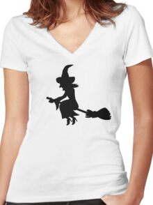 Witch broom Women's Fitted V-Neck T-Shirt