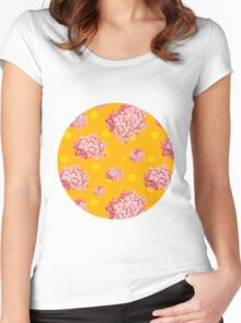 hydrangea polka Women's Fitted Scoop T-Shirt