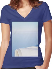 Plane wing in blue sky analogue 35mm film ra-4 darkroom print Women's Fitted V-Neck T-Shirt