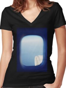 Plane wing in blue sky analogue 35mm film ra-4 darkroom photo Women's Fitted V-Neck T-Shirt
