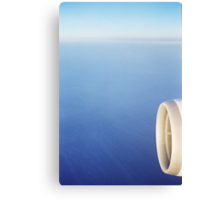 Plane wing in blue sky analogue 35mm film ra-4 darkroom prints Canvas Print
