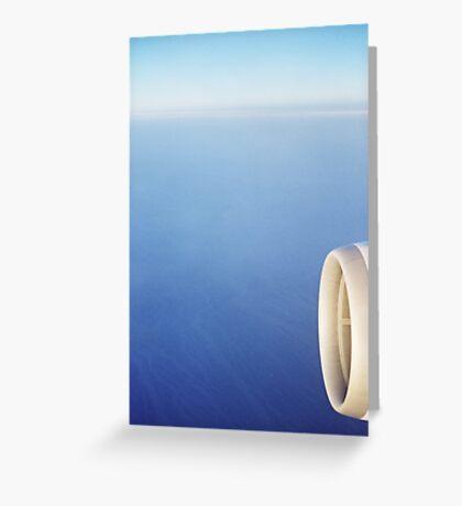 Plane wing in blue sky analogue 35mm film ra-4 darkroom prints Greeting Card