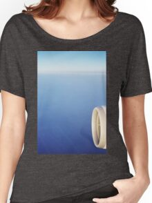 Plane wing in blue sky analogue 35mm film ra-4 darkroom prints Women's Relaxed Fit T-Shirt