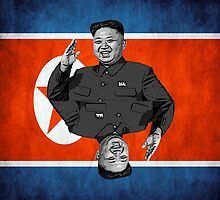 Kim Jong-un Duble with flag by norton178