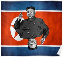 Kim Jong-un Duble with flag Poster