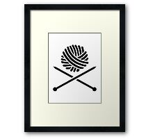 Knitting wool needles Framed Print